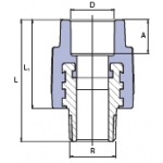 """Перехід з металевим внутрішнім різьбленням Ekoplastik МРН 20x3/4""""."""